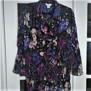 Beautiful Flowing Floral Blouse Like New 2X
